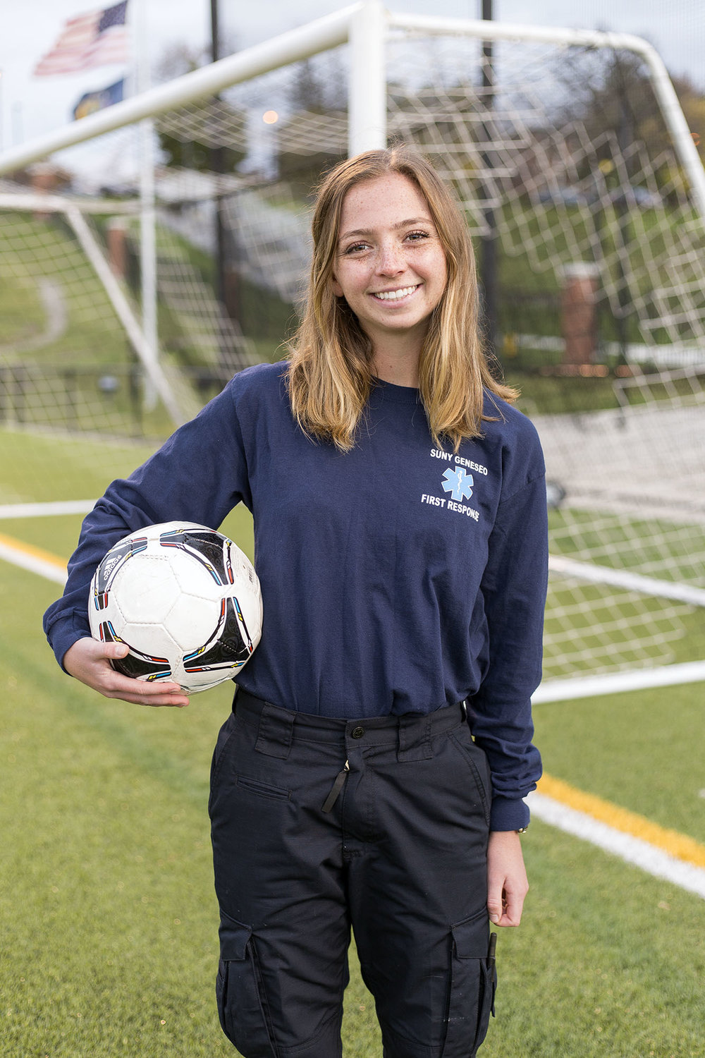 Serving as a Geneseo First Responder and a player on the women's soccer team, junior defender Rachel Walsh has shown her dedication to the campus in a variety of ways. Walsh hopes to use her experiences at Geneseo in a future career as a physician's assistant. (Annalee Bainnson/Photo Editor)