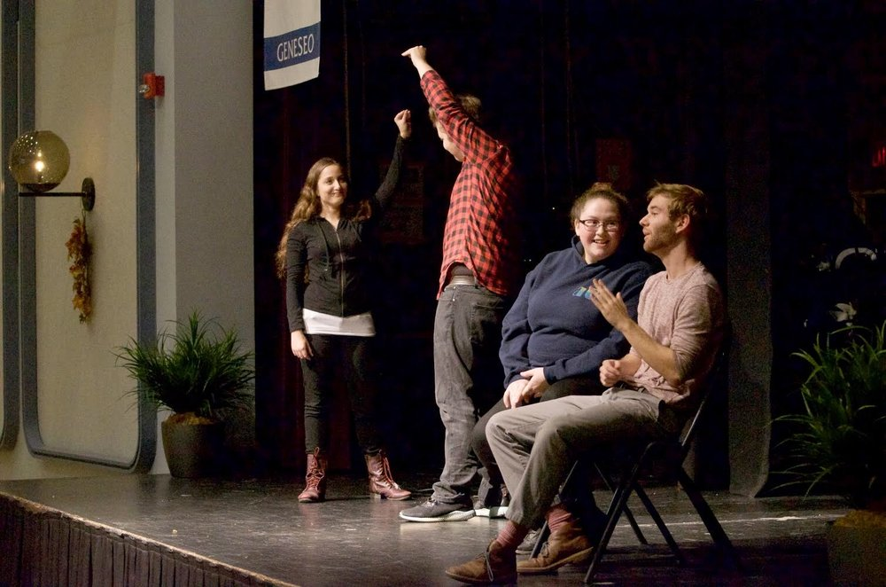 The second annual Geneseo Fringe Festival was held on Thursday Nov. 2, and featured performances from many Geneseo students. Pictured above is improv group No Laugh Track Required. From left to right  is senior Lisa Cento, freshman Will Snyder, freshman Kayla LaBombard and senior Clayton Smith. (Troy Hallahan/Advertising Manager)