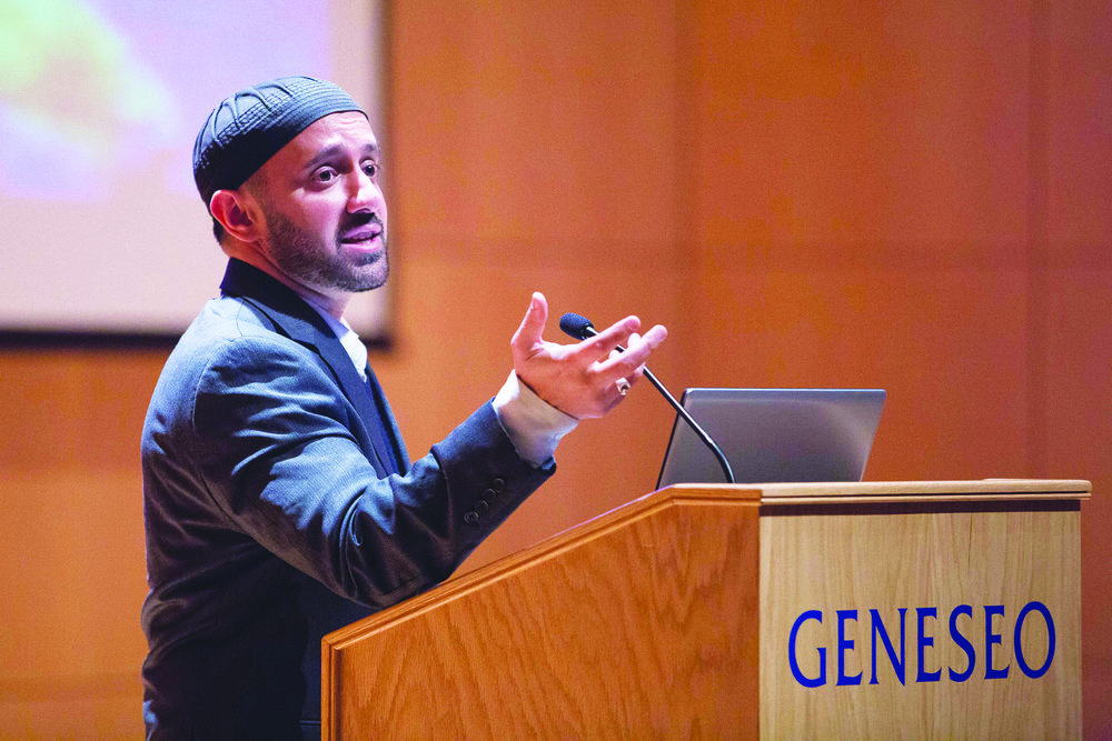 Executive Director of the New York University Islamic Center and New York City Police Department Chaplain Khalid Latif delivered the annual MacVittie Theology Lecture on Tuesday Nov. 14. Latif  foregrounded intercultural dialogue and understanding between dissimilar peoples. (Keith Walters/campus photographer)