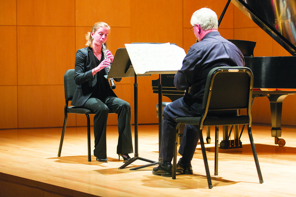 The Geneseo Wind Quintet held a performance as part of the Fall 2017 Faculty and Guest Artist Series on Sunday Nov. 12 in Doty Recital Hall. The concert featured many talented faculty members, such as adjunct professors Megan Kyle and Ernest. (Annalee Bainnson/Photo Editor)