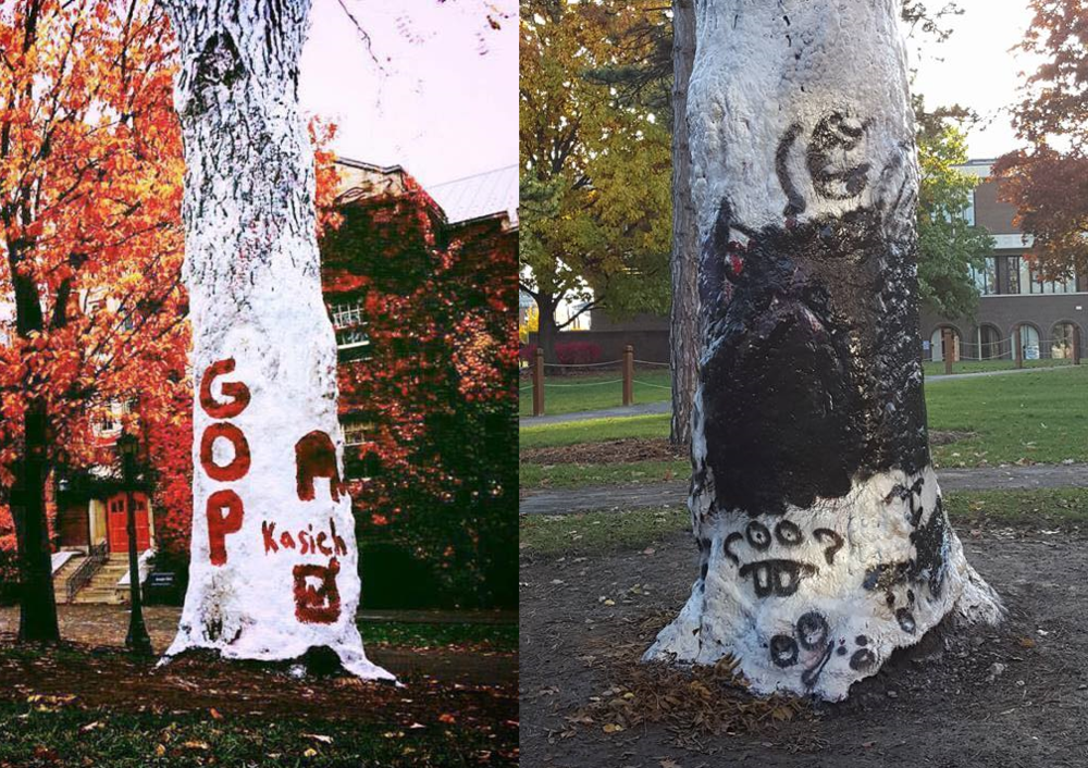 College Republicans painted the Greek Tree before the 2016 presidential election (pictured left) and it was defaced soon after (pictured right). The college's response has been applauded by some students. (Courtesy of Sarah Simon (Pictured left) and Noah Horan (Pictured right))