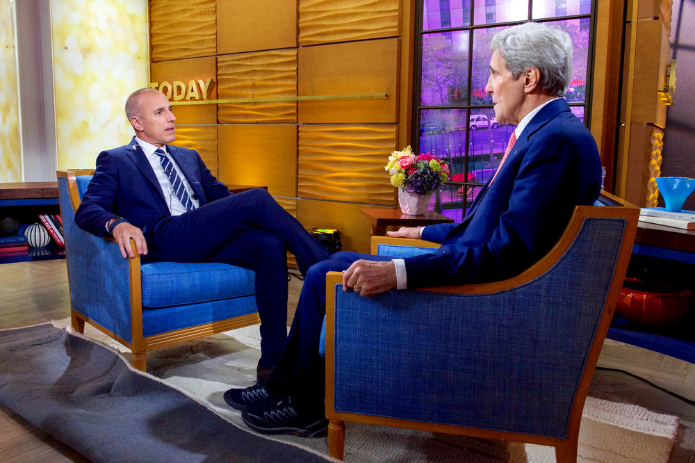 "Matt Lauer (pictured left) interviews former United States Secretary of State John Kerry (pictured right) in 2015 on ""Today,"" where he was a beloved co-host for many years. Lauer was fired from his position due to sexual misconduct accusations. This immediate action taken by NBC highlights a progressive policy in terms of taking allegations seriously and holding individuals accountable. (Anders Krusberg/Creative Commons)"