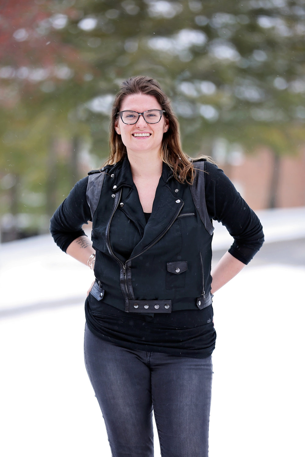 Assistant professor of communication Lee Pierce attended several undergraduate schools before completing her doctorate at the University of Georgia. Pierce has hosted a TED Talk and her research topics range from Taylor Swift to Beyoncé. (Annalee Bannison/ Photo Editor)
