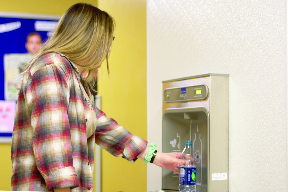 A student fills up a water bottle in the MacVittie College Union (pictured above). The Village of Geneseo discovered some presence of trihalomethanes in the local supply and is seeking to decrease the THM levels. (Theo Liu/Associate Photo Editor)