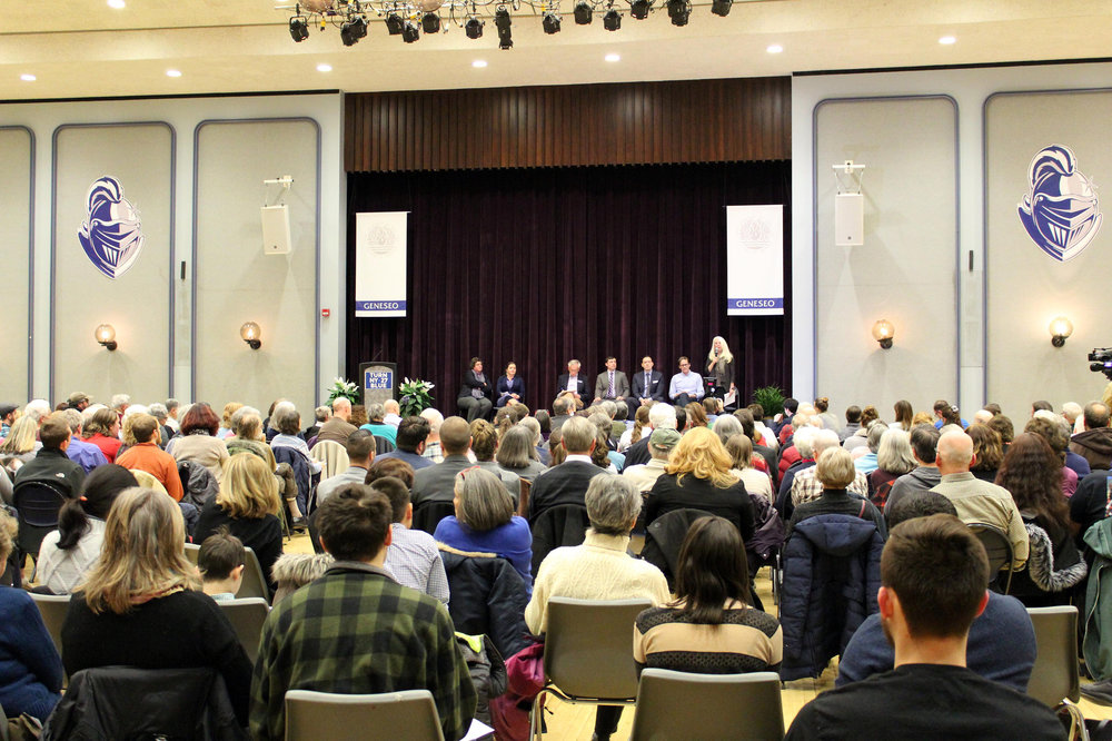 The local Democratic party and Geneseo College Democrats invited five Democratic candidates competing in the November 2018 Congressional election to campus on Thursday Feb. 1 for an open forum in the MacVittie College Union ballroom (pictured above). The candidates presented themselves as liberals who could win against incumbent Republican Congressman Chris Collins by appealing to both Democrats and Republicans. (Malachy Dempsey/News Editor)