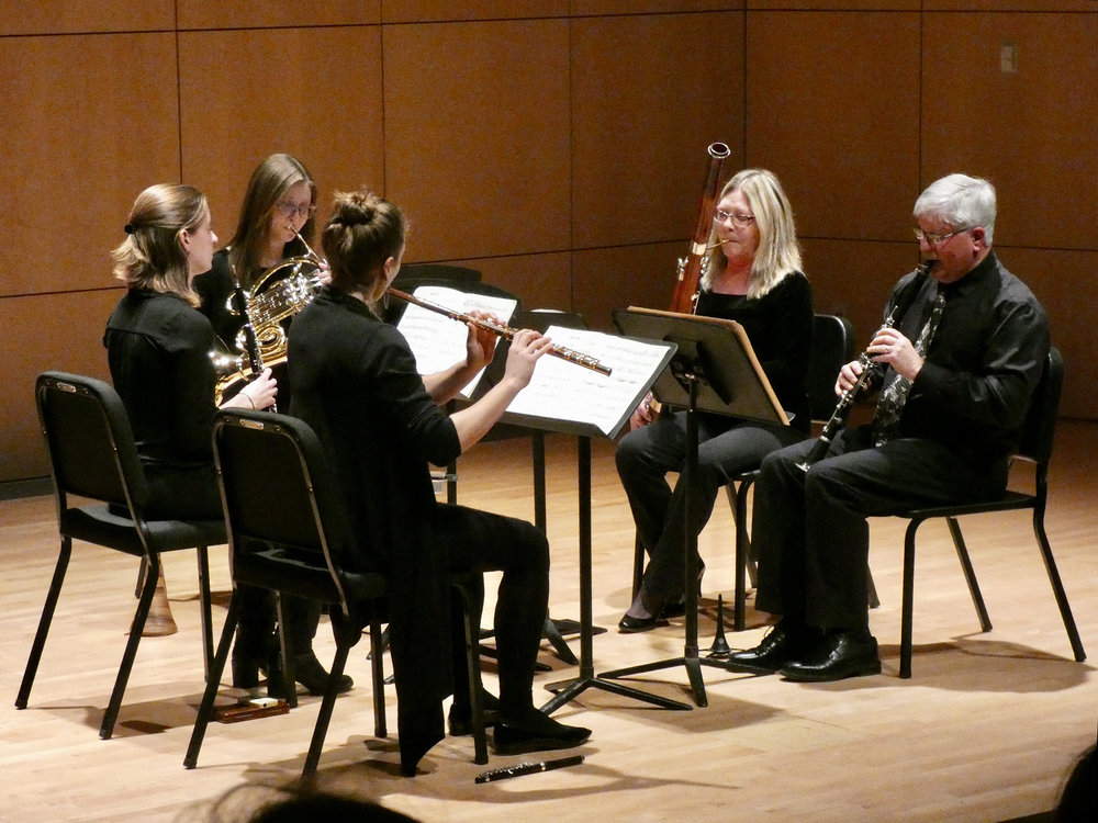 The Geneseo Wind Quintet played in a recital on Sunday Feb. 4 in Doty Recital Hall (pictured above). The quintet consists of adjunct professor of flute Emlyn Johnson, adjunct professor of oboe Megan Kyle, adjunct professor of clarinet and saxophone Ernest Lascell, adjunct professor of bassoon Martha Sholl and adjunct professor of French horn Maura McCune Corvington. (Sophie Yeomans/Asst. Copy Editor