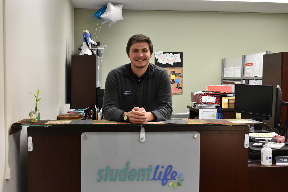 Business administration major senior Thomas Capuano has distinguished himself as an active member of the Geneseo community, where he performs service work and belongs to many organizations. Besides working as a College Union Manager, Capuano belongs to the fraternity Men of Action and Change. (Izzy Graziano/knights' life editor)