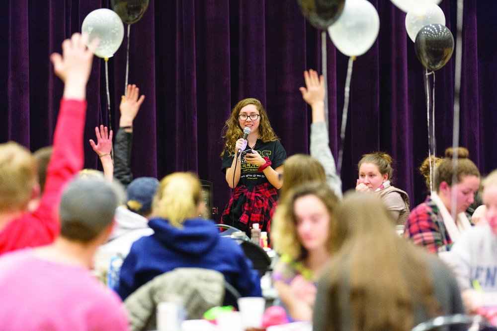 The 2018 Siblings Weekend included the inaugural Jedi Knight on Saturday Feb. 17 in the MacVittie College Union ballroom. Pictured above is Special Events Coordinator junior Maddie Walker leading a  themed  trivia game. (Annalee Bainnson/photo editor)