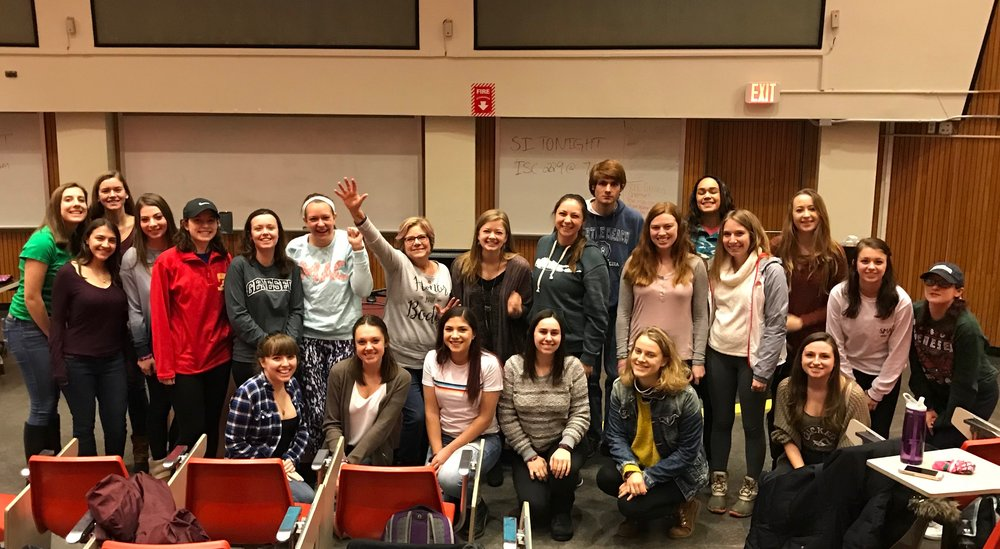 Members of Sisters Making A Change (pictured above) at Ellen Bennett's Body Positivity discussion on Monday Feb. 19 in Newton 202. The talk commemorated National Eating Disorder Awareness Week and emphasized the importance of dialogue surrounding eating disorders.  (courtesy of Julia Skeval/Copy Editor)