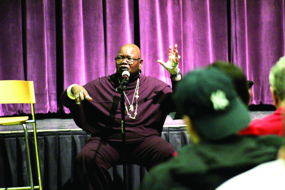 Ysaÿe Maria Barnwell '67 (pictured above) hosted a community sing on Tuesday Feb. 27 in the MacVittie College Union ballroon in memory of the 50th anniversary of Martin Luther King Jr.'s assassination. Barnwell taught the audience members music distinct to African culture in a comfortable and collaborative environment. (Catherine White/Arts & Entertainment Editor)