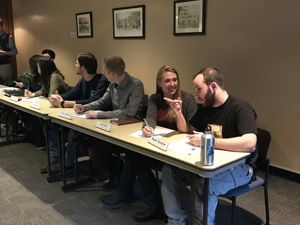 The 2017-18 Student Association Executive Committee held its weekly meeting on Wednesday March 28 in the MacVittie College Union's Hunt Room (pictured above). Unofficial results for the election to replace the current executive committee were  released on Tuesday March 27, demonstrating that the vast majority of students did not vote. (Theo Liu/Assoc. Photo Editor)
