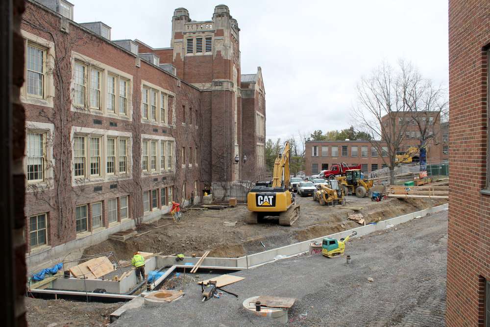 Construction in Sturges Quad (pictured above) will be completed during the summer. The college is looking to implement renovation projects around campus, including the interior reworking of Sturges and Fraser Halls, upgrades in residence halls and eventual larger operations for Milne Library and North Campus(Malachy Dempsey/news editor).