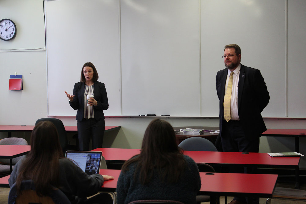 Interim Dean and professor in the Rockerfeller College of Public Affairs and Policy R. Karl Rethemeyer (pictured right) and Director of Graduate Recruitment and Admissions at Rockefeller College Jaclyn Napoleon presented about a partnership their college formed with Geneseo's Department of Political Science and International Relations.  The agreement would allow Geneseo students to begin taking courses for the Master of Public Administration while in their senior year at Geneseo (Malachy Dempsey/News Editor).