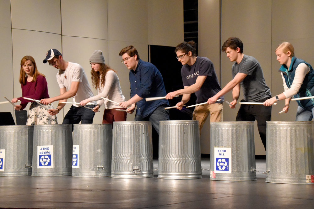The Geneseo Percussion Ensemble will perform in Cirque Du Percussion, an energetic visual concert, on April 30 in the Wadsworth Auditorium at 8 p.m. Under director adjunct lecturer in percussion and full-time principal percussionist of the Rochester Philharmonic Orchestra Jim Tiller, the show will feature performative pieces that are unconventional (IZZY GRAZIANO/KNIGHTS' LIFE EDITOR).