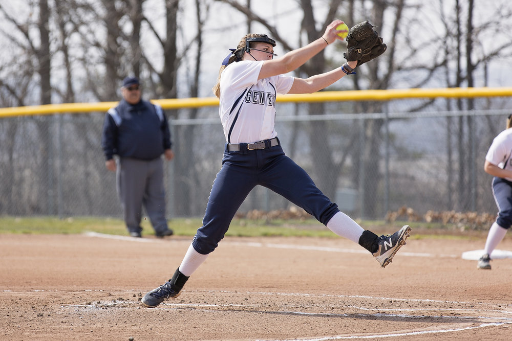 Junior pitcher Taylor Moore winds up for a pitch on Friday April 13 against Buffalo State College. The women hope to add on to their seven-game victory streak this weekend, as they prepare for six games between Friday April 20 and Sunday April 22. (Annalee Bainnson/photo editor)