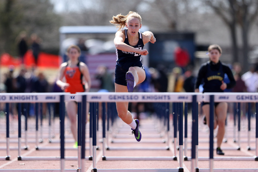 Junior hurdler Erin MacDougall (pictured above) finishes hard in her race on March 31st the Geneseo invitational. The track & field team continues to put in work for the SUNYAC Championships in Geneseo that begin on Friday May 4 (Keith walters/director of multimedia).