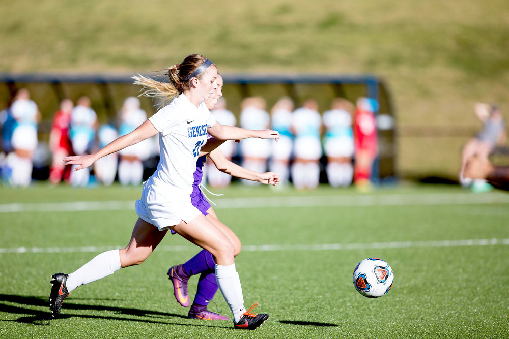 Junior defender Rachel Walsh (pictured above) competes to chase down a loose ball in a 2-0 victory against Nazareth College on September 7. The win was one of many in a championship season for the Knights (Annalee Bannson/Outgoing Photo Editor).