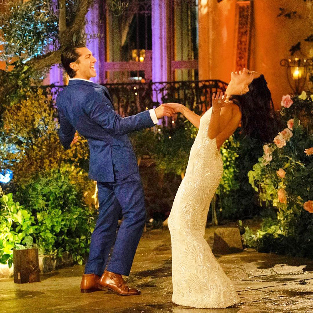 """Geneseo alumnus Jason Tartick '10 dancing with Becca Kufrin (pictured above) on ABC's """"The Bachelorette."""" Tartick made it to the final three of the reality television show, even becoming a fan favorite amongst avid viewers (courtesy of JAson Tartick)."""