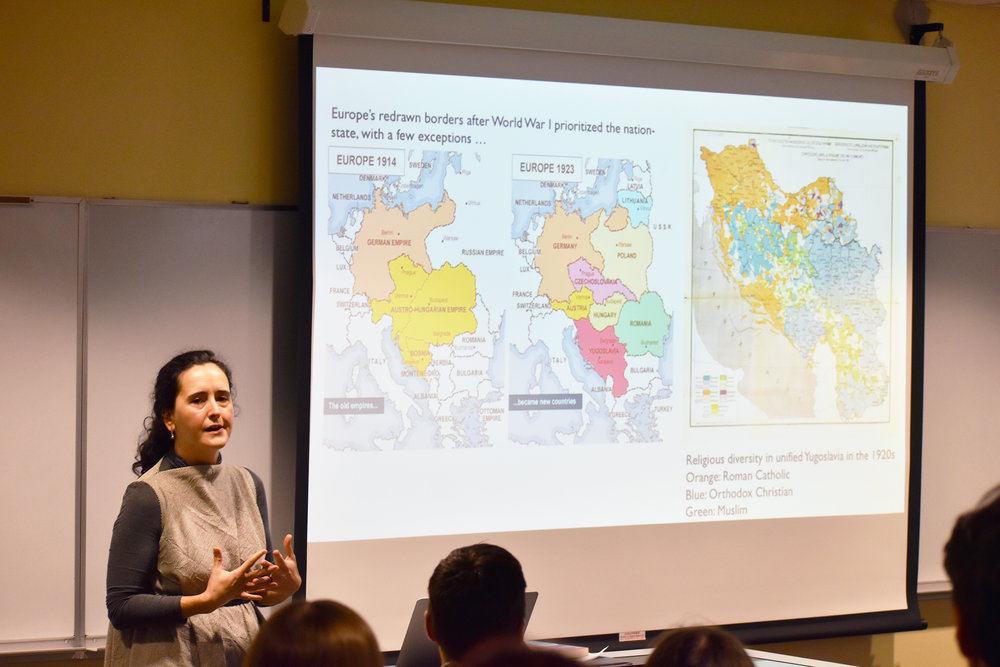 Assistant professor of history Jovana Babović (pictured above) gave a talk on her book  Metropolitan Belgrade: Class and Culture in Interwar Yugoslavia  on Friday Oct. 12. Babović informed audience members about the history of Yugoslavia and its culture. (Josie Kwan/Assoc. Photo Editor)