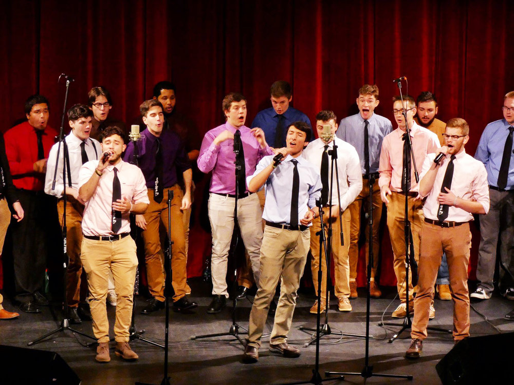 The a capella group Southside Boys (pictured above) performed alongside Hips 'n Harmony, Between the Lines, Exit 8 and Emmelodics on Saturday Oct. 20. New members sang for the first time for Fallcappella (Sophie Yeomans/staff photographer).