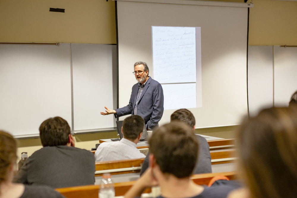 Distinguished professor of history Michael Oberg (pictured above) delivered a talk on Friday Nov. 2 to discuss his research and publications on the Onondaga tribe and the Carlisle Boarding School. Oberg has published multiple books on the topics he discussed (Udeshi Seneviratne/photo editor).