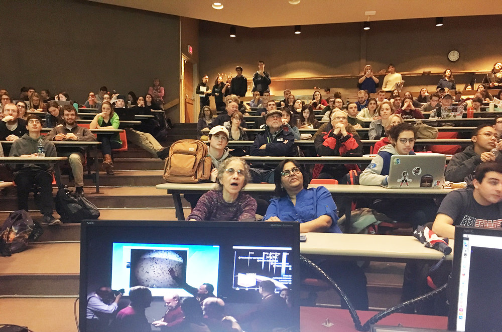 A watch party for the Mars landing (pictured above) on Nov. 26 in Newton Hall, hosted by the Geology Department. Professor Nicholas Warner and Geological science majors seniors Alyssa DeMott and Megan Kopp are involved in NASA's Mars InSight mission to assist in logistics for landing as well as looking at the geological makeup of the planet. (Courtesy of Dori Farthing)