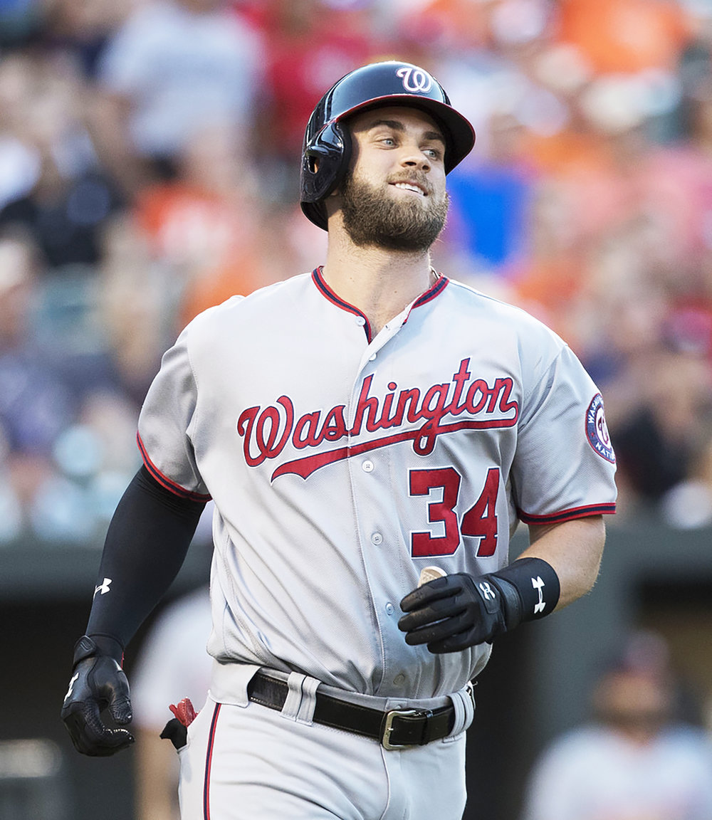Outfielder Bryce Harper (pictured above) began his career with the Washington Nationals. Harper hit free agency this offseason and has yet to sign with a new team (courtesy of creative commons).