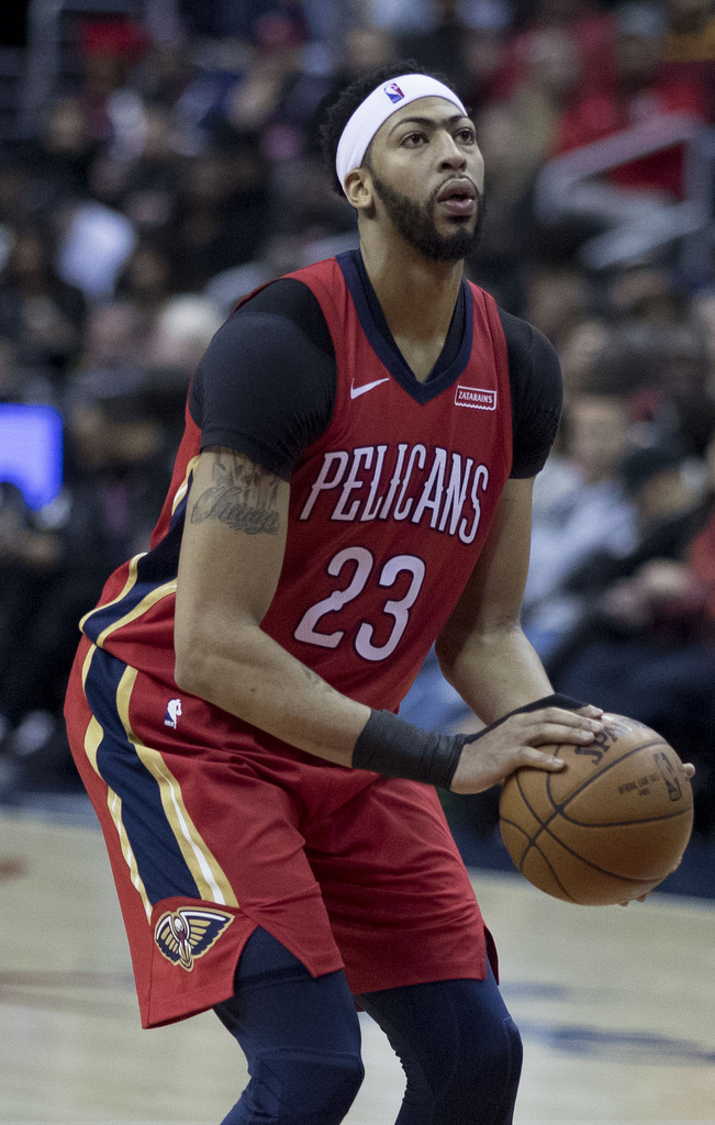 New Orleans Pelicans center Anthony Davis (pictured above) has been a big name in trade talks this week. He requested a trade early last week (Courtesy of Creative Commons).