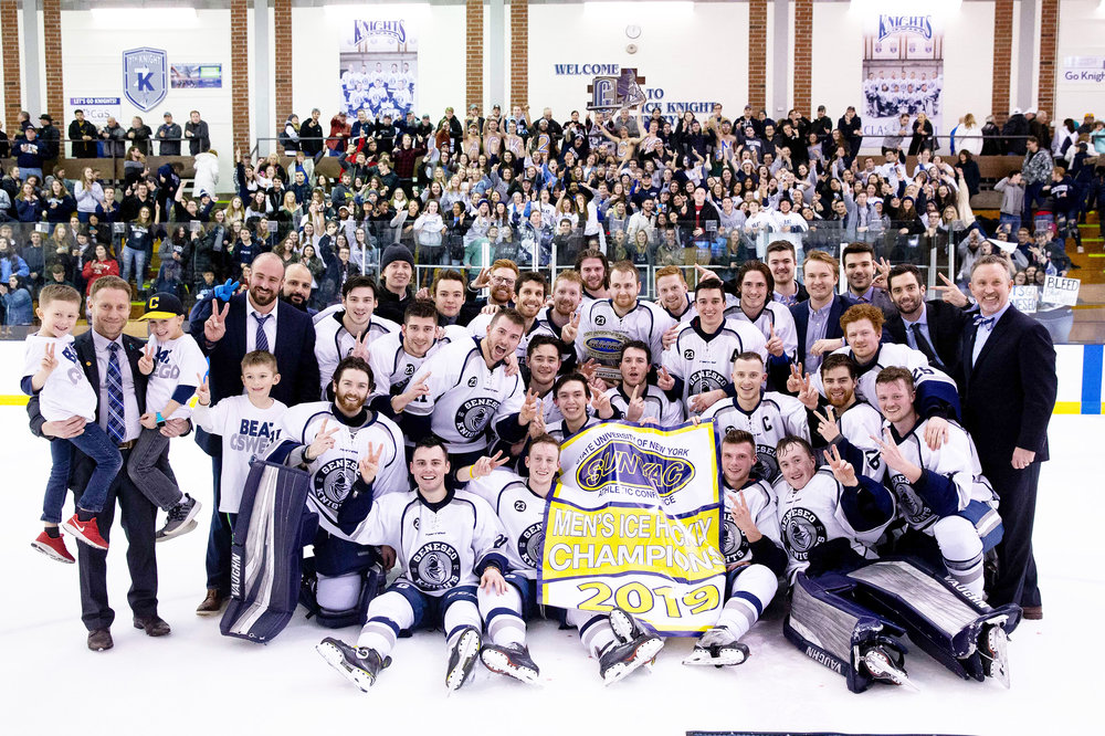The Geneseo Ice Knights (pictured above) pose for a photo after defeating the SUNY Oswego Lakers by a score of 4-3 in the SUNYAC championship. It was the Knights second straight SUNYAC title (Courtesy of KeIth Walters '11).