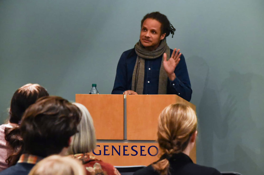 Author of A Lucky Man Jamel Brinkley (pictured above) visited Geneseo and gave a public reading in the Doty Tower Room on Thursday March 7. Brinkley read two stories; one focused on a relationship between two brothers and the other focused on a man questioning whether or not he deserved his ex-wife (Elijah Reed/staff photographer).