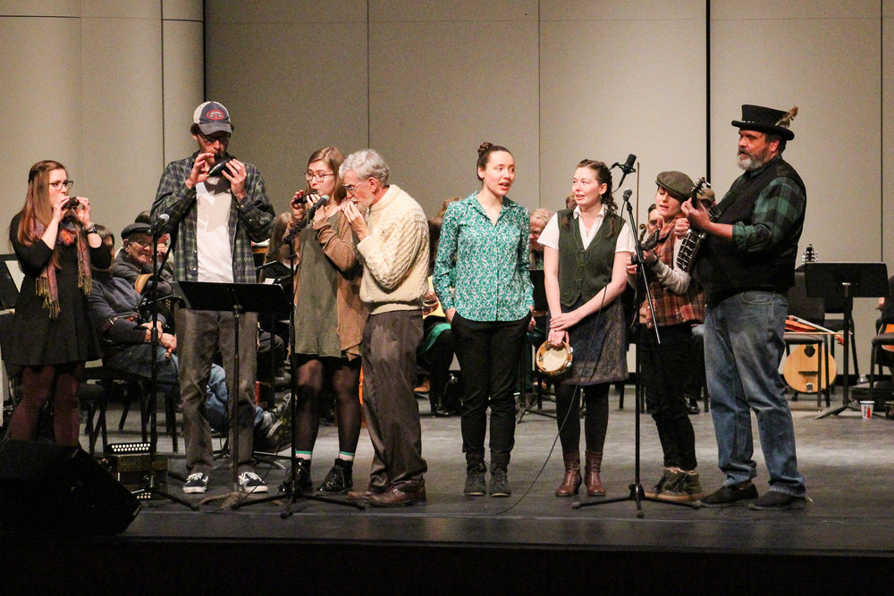 With the help of other musicians and dancers, Geneseo's string band performed their annual Pre-St. Patrick's Day Concert in Wadsworth Auditorium on Saturday March 9. Instruments typical to Irish music, like a harp and an accordion, gave the concert its traditional feel (Catherine White/editor-in-chief).