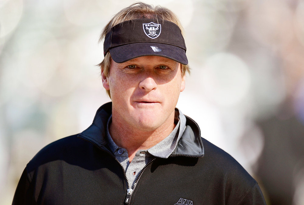 Oakland Raiders head coach Jon Gruden (pictured above) recently made a deal with the Pittsbugh Steelers to acquire wide receiver Antonio Brown in a trade. Gruden has been criticized for his previous front office deals (Courtesy of Creative Commons).