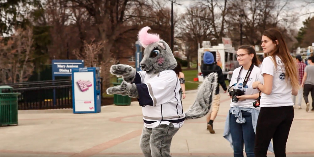 WGSU's mascot Genny the Squirrel (pictured above) is no longer allowed to be present at Geneseo hockey games. Reasons for this ban stem from the college's protocol surrounding the Knight mascot and brand. (Udeshi Seneviratne/Photo editor)