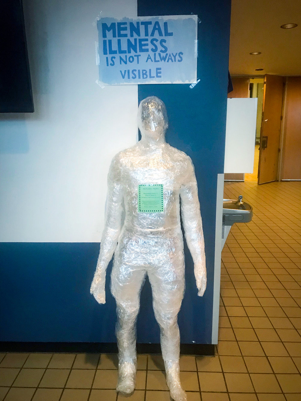 Neuroscience major sophomore Brooke Demetri, international relations major sophomore Jenna Meldrum and neuroscience major sophomore Annika Mounts chose to encourage discussions about mental illness with their honors project. The project involved creating sculptures of human beings from cellophane (pictured above) to represent how mental illness can occur in anyone (courtesy of Annika Mounts).