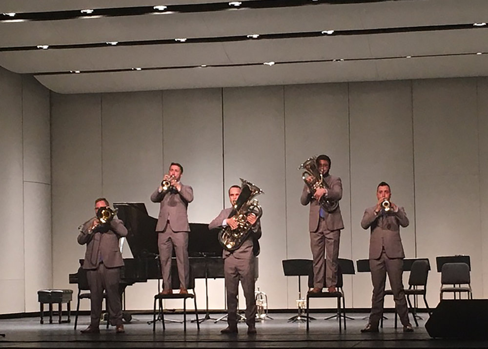 Quintet Presidio Brass performed on Saturday April 6 in the Wadsworth Auditorium. The band brought life to the show with humor and coordination (courtesy of Nicole Boyle).