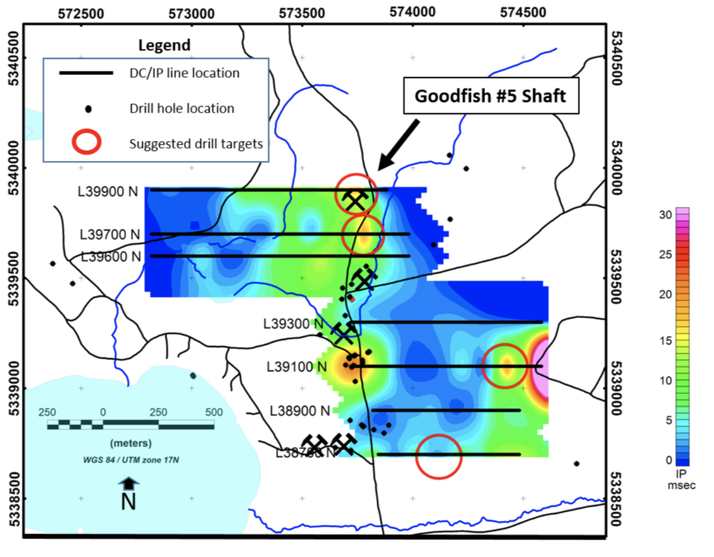 Figure 3. Geophysical interpretation map with suggested future drill locations indicated.