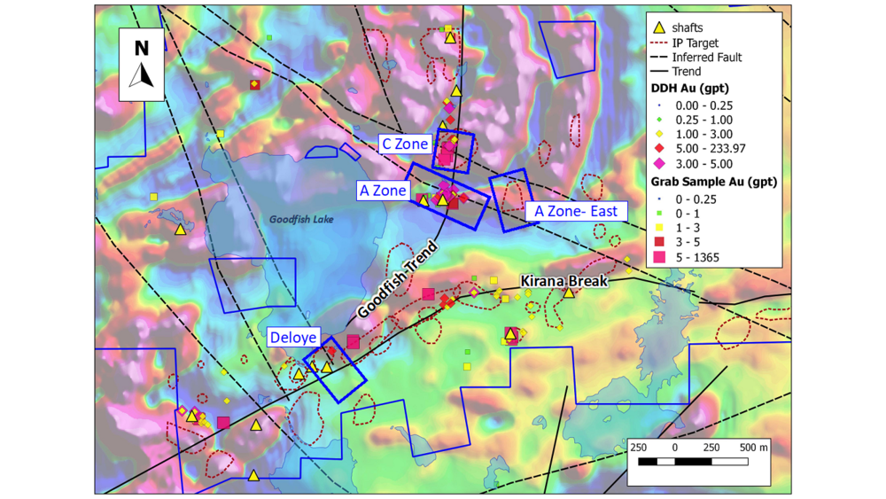Figure 2:  2019 Drill target areas (overlain on Total Magnetics-1st Vertical Derivative)