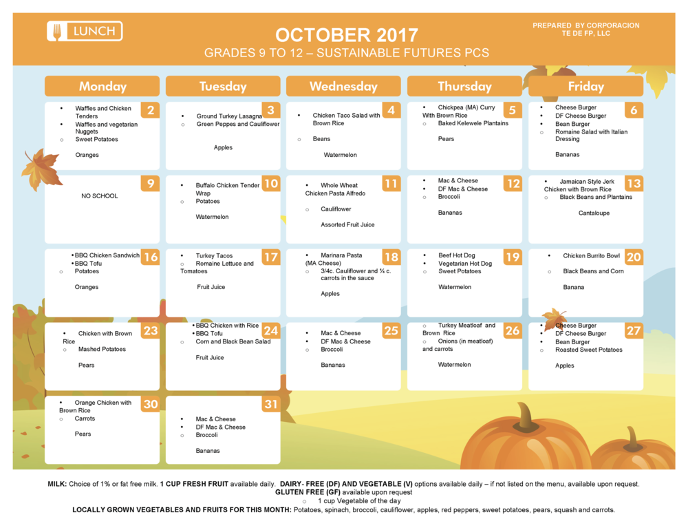 October Lunch and Supper