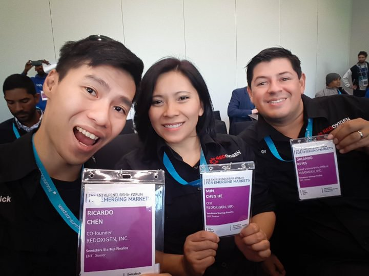 Ricardo Chen, Min Chen & Orlando Reyes, Executive Officers of Redoxigen, in SeedStars World Summit, April 2017.