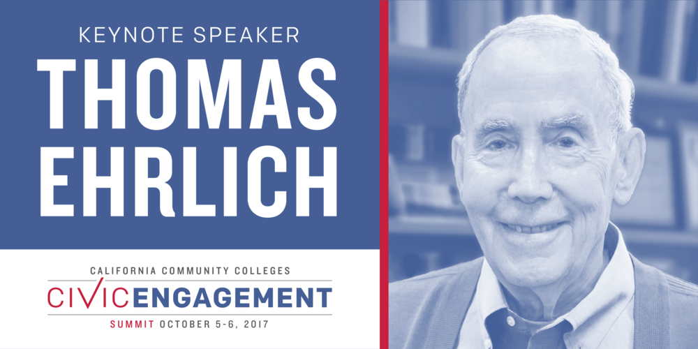 We are honored to announce  Thomas Ehrlich, one of the premier voices in the field of civic engagement,  as our keynote speaker. Ehrlich teaches at the Stanford University Graduate School of Education and previously he served as president of Indiana University,  provost of the University of Pennsylvania, as dean of Stanford Law School. From 2000 to 2010 he was a Senior Scholar at the Carnegie Foundation for the Advancement of Teaching.  He is the author, co-author, or editor of 14 books including  Preparing Undergraduates for Business: Liberal Learning for Professional Education ,  Educating Citizens: Preparing America's Undergraduates for Lives of Moral and Civic Responsibility,  and  Educating for Democracy: Preparing Undergraduates for Lives of Responsible Political Engagement .