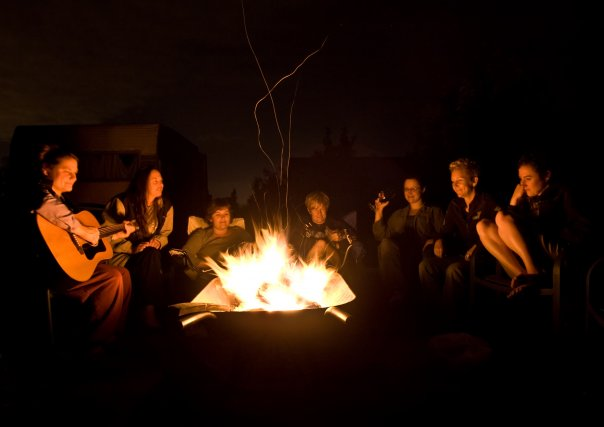 Friends around the campfire