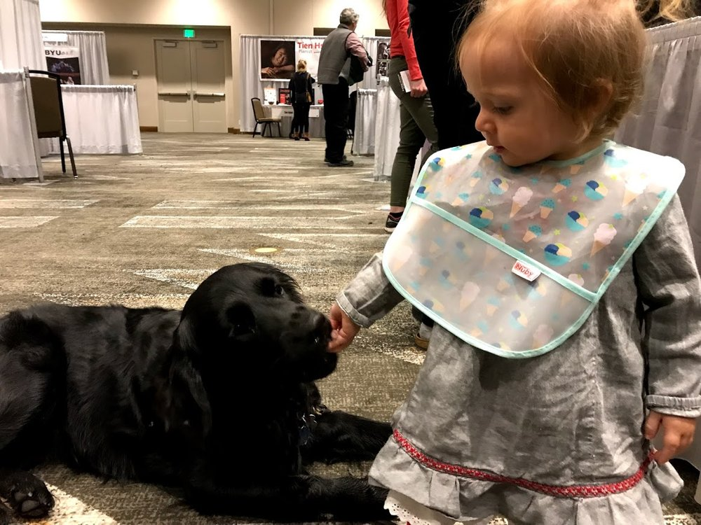 Juno making friends IN the exhibit hall at the conference. Anyone who has treats and is close to the ground is a perfect friend in her book!!!