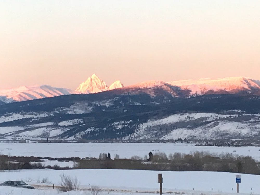 The Grand Teton like a solid pink beacon saying farewell to another day.