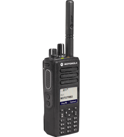 The MOTOTRBO XPR 7550e is the top of the line MOTOTRBO radio. This radio is capable of 1000 digital or analog channels, has a T/A range of 3-5 miles, and has an average battery life of 15+ hours. This radio can also make private calls to individual MOTOTRBO units or to a select group MOTOTRBO units. The XPR 7550 can also send/receive private and group text messages to and from other MOTOTRBO radios. Some additional features of The XPR 7550e include: Bluetooth (for conecting wireless mics/earpieces), adjustable back light time and brightness, enhanced privacy,  remote monitor, IP57 (1M water submersible 30 min), MCD, Quick-Call II, DTMF decode/encode, voice announcement (radio announces what channel is selected), and 6 custom programmable buttons. With this radio, you will have full access to all of the latest and greatest features of radio communication so you can be sure that even under the toughest conditions, this radio will have you and your staff covered.