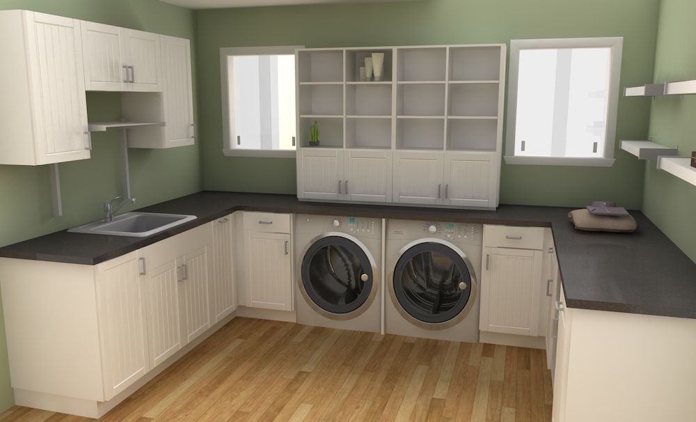 Fascinating-u-shape-laundry-room-design-ideas-with-white-wooden-cabinet-also-gray-washing-machine-under-the-backsplash-and-wooden-floor-including-green-painting-wall.jpg