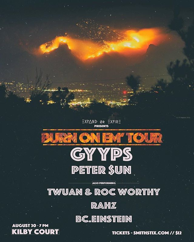 excited to bring @gyyps & @holapedroxx to SLC on Aug 30!  good vibes all night  #BURNONEMTOUR 🔥  flyer by @mu_arae_ 📿