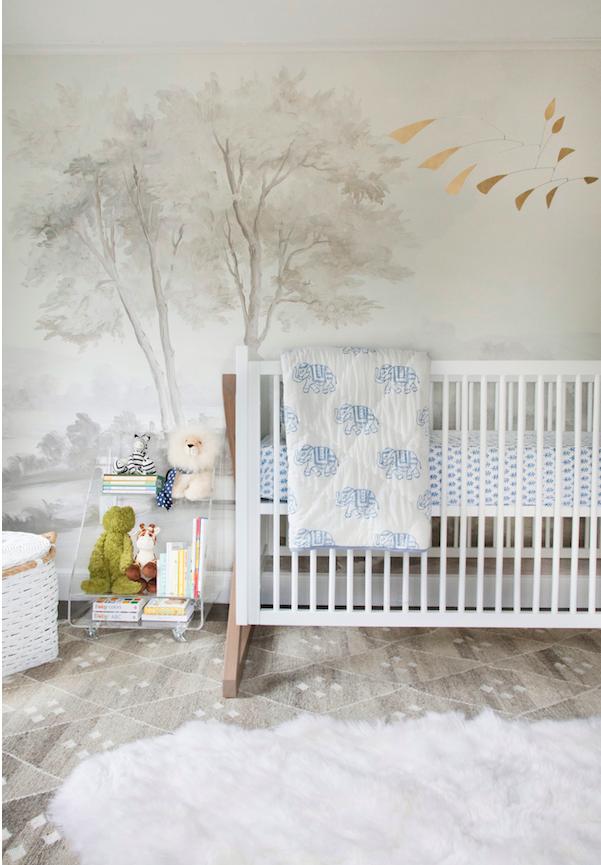 Designer Erin Gates made this lovely grisaille scheme for her child's nursery.