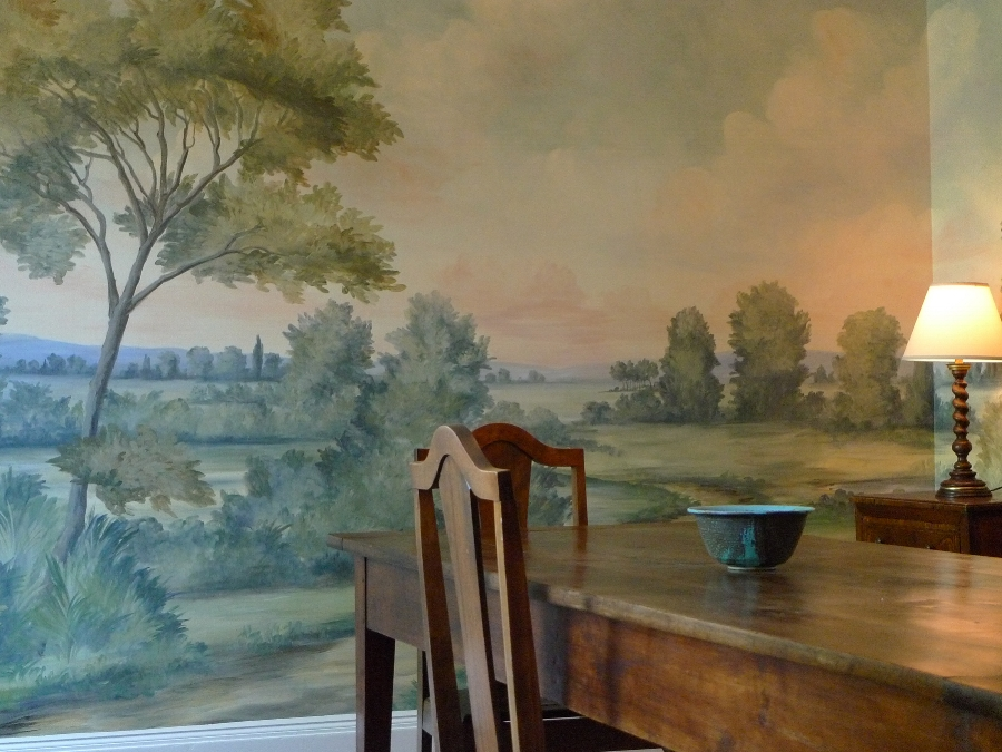 A mural makes this small dining room happily intimate. Try our Aldsworth natural mural for a similar feeling.