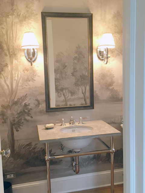 Cotswolds Earth in a powder room- love how it works with the marble sink!