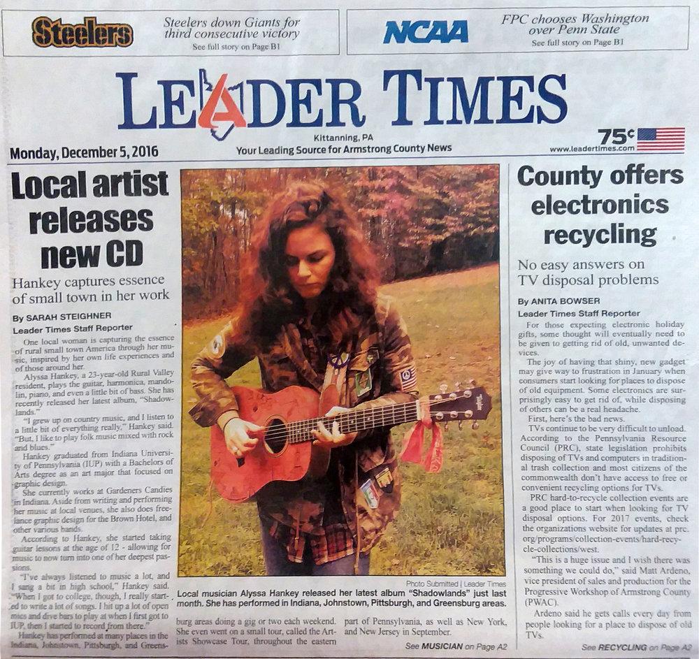 Leader Times  December 5, 2016